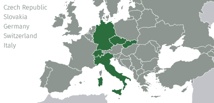 Where we deliver -  Czech Republic, Slovakia, Germany, Switzerland, Italy